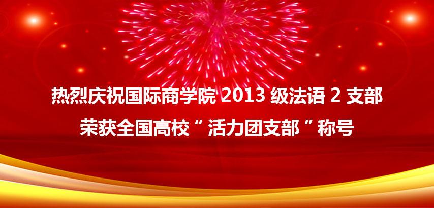 """国际商学院2013级法语2支部荣获全国高校""""活力团支部""""称号"""