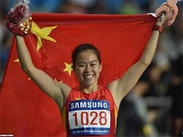 热烈庆祝我学院吴水娇同学勇夺仁川亚运会女子100米栏金牌